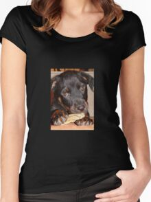 Rottweiler Puppy Chewing a Treat Women's Fitted Scoop T-Shirt
