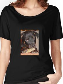 Rottweiler Puppy Chewing a Treat Women's Relaxed Fit T-Shirt