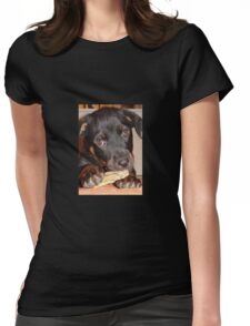 Rottweiler Puppy Chewing a Treat Womens Fitted T-Shirt