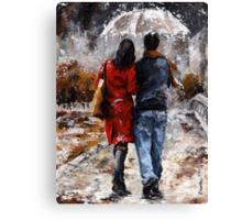 Rainy day 05 - Walking in the rain Canvas Print