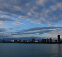 Chicago City Skyline from Montrose Harbor by Adam Kuehl