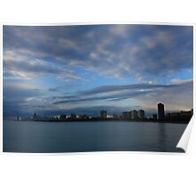 Chicago City Skyline from Montrose Harbor Poster