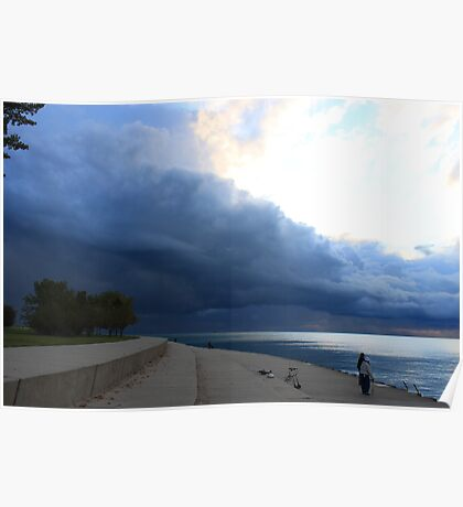 Squall Line in Chicago's Montrose Harbor Poster