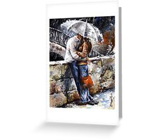 Rainy day 18 - Love in the rain Greeting Card