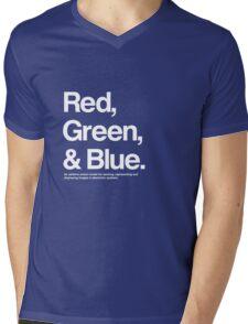 Red, Green & Blue (White) Mens V-Neck T-Shirt