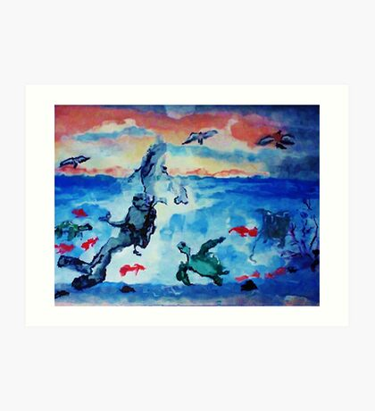 There is beauty above and below, watercolor Art Print