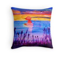 Sunset over the Reeds, watercolor Throw Pillow