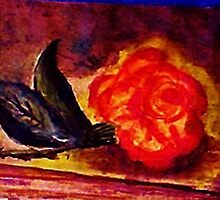 The  Rose, Gods gift, watercolor by Anna  Lewis, blind artist