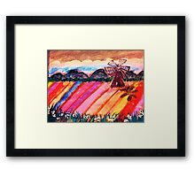 Our local flower fields, watercolor Framed Print
