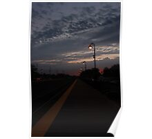 An early morning Sunrise at the Lisle, IL train station. Poster
