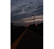 An early morning Sunrise at the Lisle, IL train station. Photographic Print
