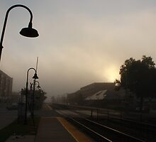 A foggy morning at the Berwyn, IL train station by Adam Kuehl