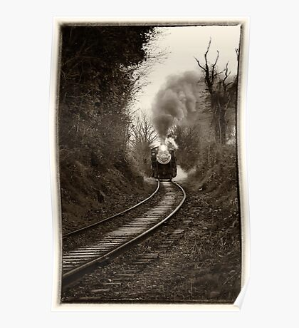 Train Coming Down the Track, Monochrome Poster