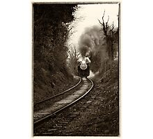 Train Coming Down the Track, Monochrome Photographic Print