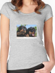 Two Rottweiler Puppies, High Five Women's Fitted Scoop T-Shirt