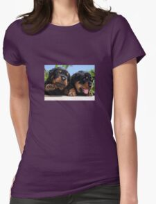 Two Rottweiler Puppies, High Five Womens Fitted T-Shirt