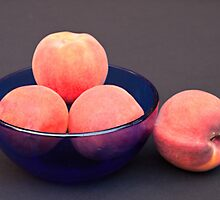 Peaches in Blue Bowl by Sherry Hallemeier