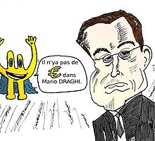 Mario DRAGHI en caricature avec Euroman by Binary-Options