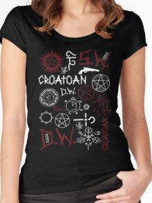 SPN Angel and Demon Sigils (white/red version) Women's Fitted Scoop T-Shirt