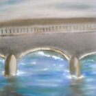 Pavia Covered Bridge - En Plein Air Painting by Nicla Rossini