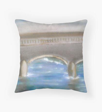 Pavia Covered Bridge - En Plein Air Painting Throw Pillow