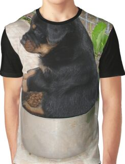 Rottweiler Puppy Sitting In A Bowl Of Food Graphic T-Shirt