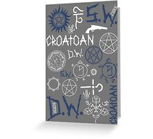 SPN Angel and Demon Sigils (white/blue version) Greeting Card
