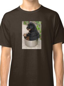 Rottweiler Puppy Sitting In A Bowl Of Food Classic T-Shirt