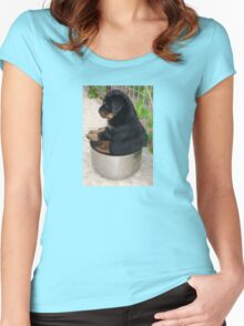 Rottweiler Puppy Sitting In A Bowl Of Food Women's Fitted Scoop T-Shirt