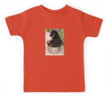 Rottweiler Puppy Sitting In A Bowl Of Food Kids Tee