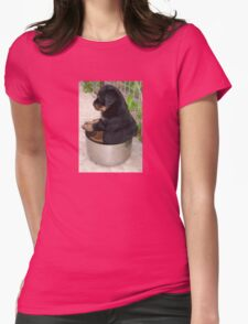 Rottweiler Puppy Sitting In A Bowl Of Food Womens Fitted T-Shirt
