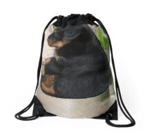 Rottweiler Puppy Sitting In A Bowl Of Food Drawstring Bag