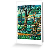Park View In Blue Greeting Card