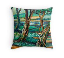 Park View In Blue Throw Pillow