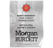 Morgan Burdett Federal Agent Birthday Card Poster