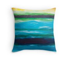 Strata Series, Fate Line, Blue and Yellow Throw Pillow