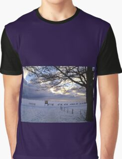 """""""Snow Stopped Play"""" Sewerby Cricket Club - Bridlington East Yorkshire Graphic T-Shirt"""