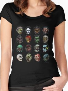 Horror Movie Monster Masks (color) Women's Fitted Scoop T-Shirt