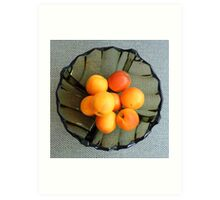 Apricots in a glass dish Art Print