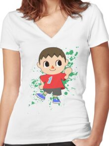 Villager - Super Smash Bros Women's Fitted V-Neck T-Shirt