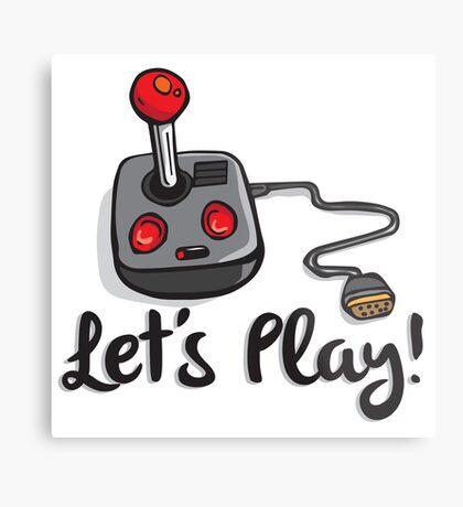Old School Gaming Joystick - Let's Play Metal Print