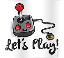 Old School Gaming Joystick - Let's Play Poster