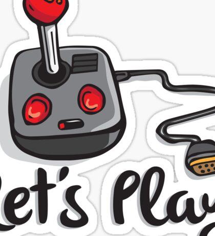 Old School Gaming Joystick - Let's Play Sticker