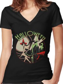 Halloween Witch Flying (vintage) Women's Fitted V-Neck T-Shirt
