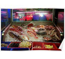 Taipei tourist market, fish kiosk Poster