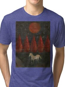 Pony And Tree And Moon Tri-blend T-Shirt
