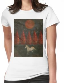 Pony And Tree And Moon Womens Fitted T-Shirt