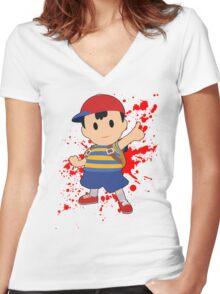 Ness - Super Smash Bros Women's Fitted V-Neck T-Shirt