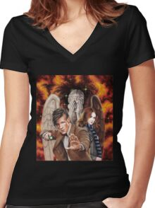 Matt Smith ; The Time of Angels Women's Fitted V-Neck T-Shirt