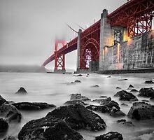 Golden Gate Star Night B&W by jswolfphoto